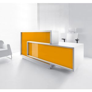 Foro Reception Desk, Left-Handed Counter, Orange/White