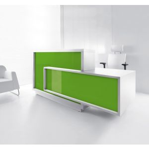 Foro Reception Desk, Left-Handed Counter, Lime/White