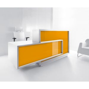 Foro Reception Desk, Right-Handed Counter, Orange/White