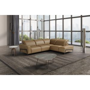 Ocean Italian Leather Sectional, Right Hand Chase, Miele