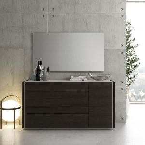 Porto Dresser + Mirror, Light Grey/Wenge