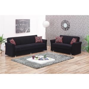 Utah Living Room Set, Black