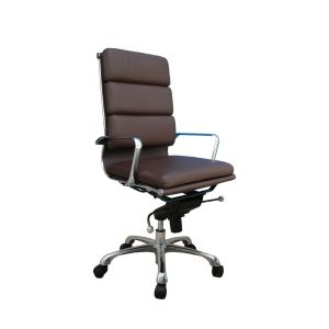 Plush High Back Office Chair, Brown