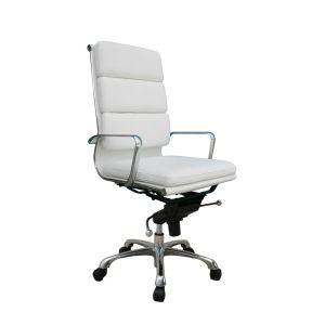 Plush High Back Office Chair, White
